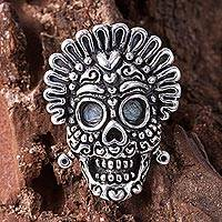 Sterling silver cocktail ring, 'Grinning Calavera' - Sterling Silver Calavera Cocktail Ring from Mexico
