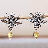 Amber dangle earrings, 'Worker Bees' - Bee-Themed Amber Dangle Earrings from Mexico