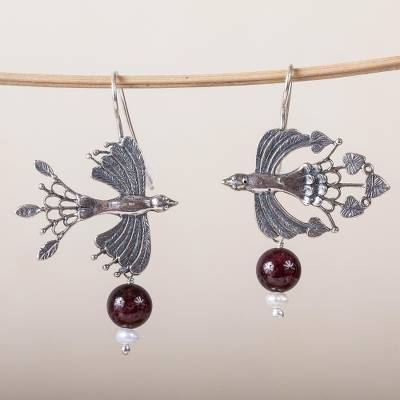 Agate and cultured pearl dangle earrings, Majestic Birds