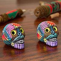 Ceramic figurines, 'Day of the Dead Color' (pair) - Hand-Painted Ceramic Skull Figurines from Mexico (Pair)