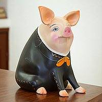 Ceramic piggy bank, 'Mariachi Pig' (11 inch) - Hand-Painted Ceramic Mariachi Pig Sculpture (11 in.)