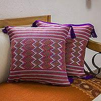 Cotton cushion covers, 'Purple Maya Geometry' (pair) - 2 Backstrap Loom Woven Colorful Purple Cotton Cushion Covers