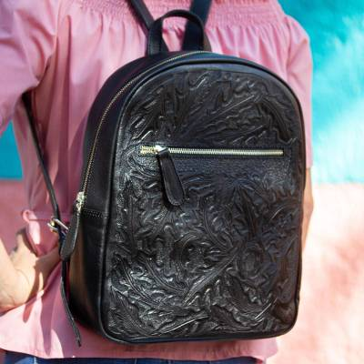 Leather backpack, 'Onyx Floral Artisan' - Floral Pattern Leather Backpack in Black from Mexico