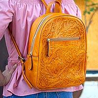 Leather backpack, 'Floral Artisan in Saffron' - Floral Pattern Leather Backpack in Saffron from Mexico