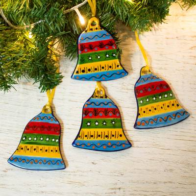 Ceramic ornaments, 'Bell Festivity' (set of 4) - Colorful Talavera-Style Ceramic Ornaments (Set of 4)