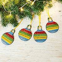Ceramic ornaments, 'Beautiful Baubles' (set of 4) - Colorful Talavera-Style Ceramic Ornaments (Set of 4)