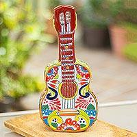 Ceramic sculpture, 'Talavera Guitar' - Talavera-Style Ceramic Guitar Sculpture from Mexico