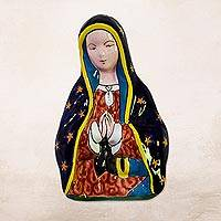 Ceramic wall sculpture, 'Praying Mary' - Hand-Painted Talavera-Style Ceramic Mary Wall Sculpture