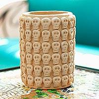 Ceramic flower pot, 'Rows of Skulls' - Skull Pattern Ceramic Flower pot from Mexico