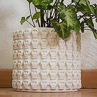 Ceramic flower pot, 'Rows of White Skulls' - White Skull Pattern Ceramic Flower Pot from Mexico