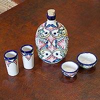 Ceramic tequila set, 'Talavera Beverage' (5 piece) - 5-Piece Talavera-Style Ceramic Tequila Set from Mexico