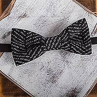 Cotton bow tie, 'Classic Charm' - Handwoven Black and White Cotton Bow Tie from Mexico
