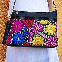 Leather accented cotton sling, 'Garden Colors' - Floral Leather Accented Cotton Sling Crafted in Mexico
