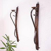 Iron and wood wall sconces, 'Rustic Light' (pair) - Rustic Barrel Stave Wall Sconces from Mexico (Pair)