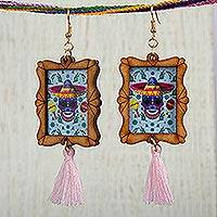 Wood dangle earrings, 'Sugar Skull Fiesta' - Handcrafted Day of the Dead Skull Wood Frame Dangle Earrings