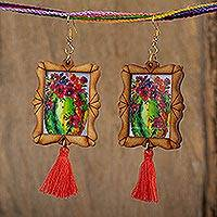 Wood dangle earrings, 'Cactus Garden' - Handcrafted Cactus and Flowers Wood Frame Dangle Earrings