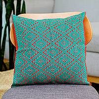 Cotton cushion cover, 'Chiapas' - Hand-woven Cotton Brocade Cushion Cover From Mexico