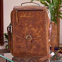 Leather backpack, 'Saddle Brown Traveler' - Handmade Leather Backpack in Saddle Brown from Mexico