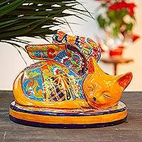 Ceramic sculpture, 'Feline Angel' - Orange Talavera-Style Ceramic Winged Cat Sculpture