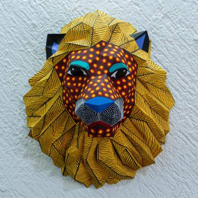 Hand-painted wall sculpture, 'Head of a Lion' - Hand-Painted Eco-Friendly Lion Wall Sculpture from Mexico