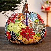 Ceramic lantern, 'Colorful Pumpkin' - Talavera-Style Ceramic Pumpkin Lantern from Mexico