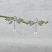 Cultured pearl drop earrings, 'Fascinating Dragonflies' - Cultured Pearl Dragonfly Drop Earrings from Mexico
