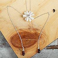 Sterling silver lariat necklace, 'Cute Petals' - Floral Sterling Silver Lariat Necklace from Mexico