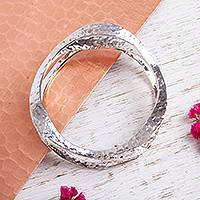 Sterling silver bangle bracelet, 'Fluid Life' - Hammered Sterling Silver Bangle Bracelet from Mexico