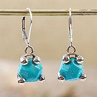 Reconstituted turquoise dangle earrings, 'Gleaming Caress' - Taxco Reconstituted Turquoise Dangle Earrings from Mexico