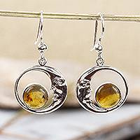 Amber dangle earrings, 'Caring Moons' - Taxco Crescent Moon Amber Dangle Earrings from Mexico