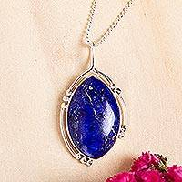 Lapis lazuli pendant necklace, 'Wintry Eye' - Lapis Lazuli and Taxco Silver Pendant Necklace from Mexico