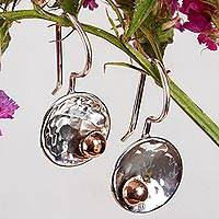 Sterling silver and copper drop earrings, 'Celestial Center' - Abstract Taxco Sterling Silver and Copper Drop Earrings