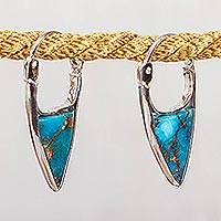 Composite turquoise hoop earrings, 'Taxco Enchantment' - Taxco Composite Turquoise Hoop Earrings from Mexico