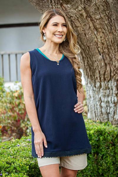 Cotton long A-line tank, 'Simple Breeze in Navy' - Cotton Gauze A-Line Tank in Solid Navy from Mexico