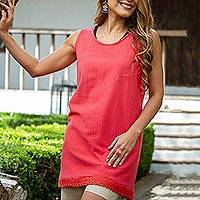 Cotton long A-line tank, 'Simple Breeze in Crimson' - Cotton Gauze Long A-Line Tank in Solid Crimson from Mexico