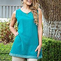 Cotton long A-line tank, 'Simple Breeze in Teal' - Cotton Gauze Long A-Line Tank in Solid Teal from Mexico