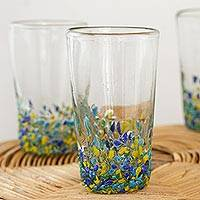 Recycled glass tumblers, 'Beautiful Confetti' (set of 6) - Confetti Pattern Recycled Glass Tumblers (Set of 6)
