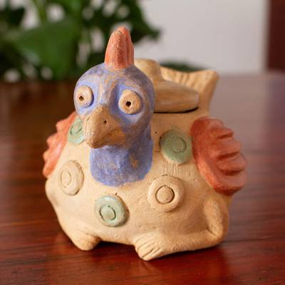 Ceramic jar, 'Colorful Hen' - Rustic Ceramic Hen Jar Crafted in Mexico