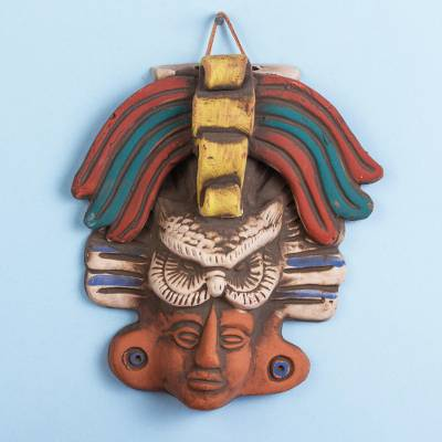 Ceramic mask, 'Owl God' - Ceramic Wall Mask of an Owl God from Mexico