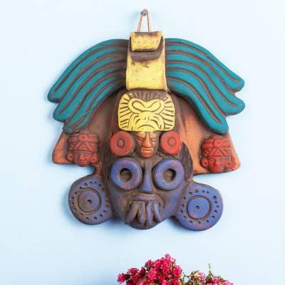 Ceramic mask, 'Colorful Ah Puch' - Ah Puch Ceramic Wall Mask Crafted in Mexico