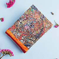 Recycled paper journal, 'Colorful Party' - Recycled Amate Paper Journal with Red Suede from Mexico