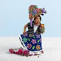 Ceramic sculpture, 'Woman with Alebrijes' - Alebrije-Themed Ceramic Sculpture from Mexico