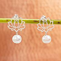 Cultured pearl dangle earrings, 'Glowing Lotus Charm' - Cultured Pearl Lotus Flower Dangle Earrings from Mexico