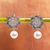 Cultured pearl dangle earrings, 'Glowing Mandala' - Cultured Pearl Mandala Dangle Earrings from Mexico