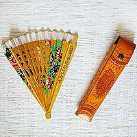 Bamboo hand fan with leather holder, 'Sunrise Flowers' - Floral Bamboo Hand Fan with Hand-Tooled Leather Holder