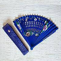 Bamboo hand fan with leather holder, 'Lapis Garden' - Blue Floral Bamboo Hand Fan with Leather Holder from Mexico