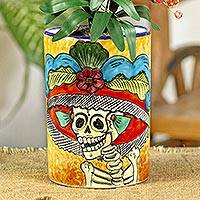Ceramic vase, 'Brilliant Catrina' - Ceramic Catrina Vase Hand Painted in Mexico