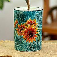 Ceramic vase, 'Brilliant Sunflower' - Sunflower Motif Ceramic Vase from Mexico
