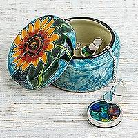 Ceramic jewelry box, 'Brilliant Sunflower' - Hand Painted Sunflower Ceramic Jewelry Box