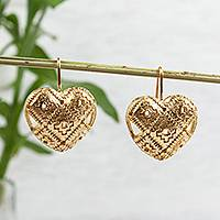 Gold plated bronze drop earrings, 'Chakana Hearts' - Gold Plated Bronze Chakana Heart Drop Earrings from Mexico